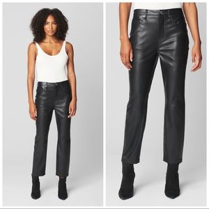 Blank NYC Black Authentic Leather Skinny Pants